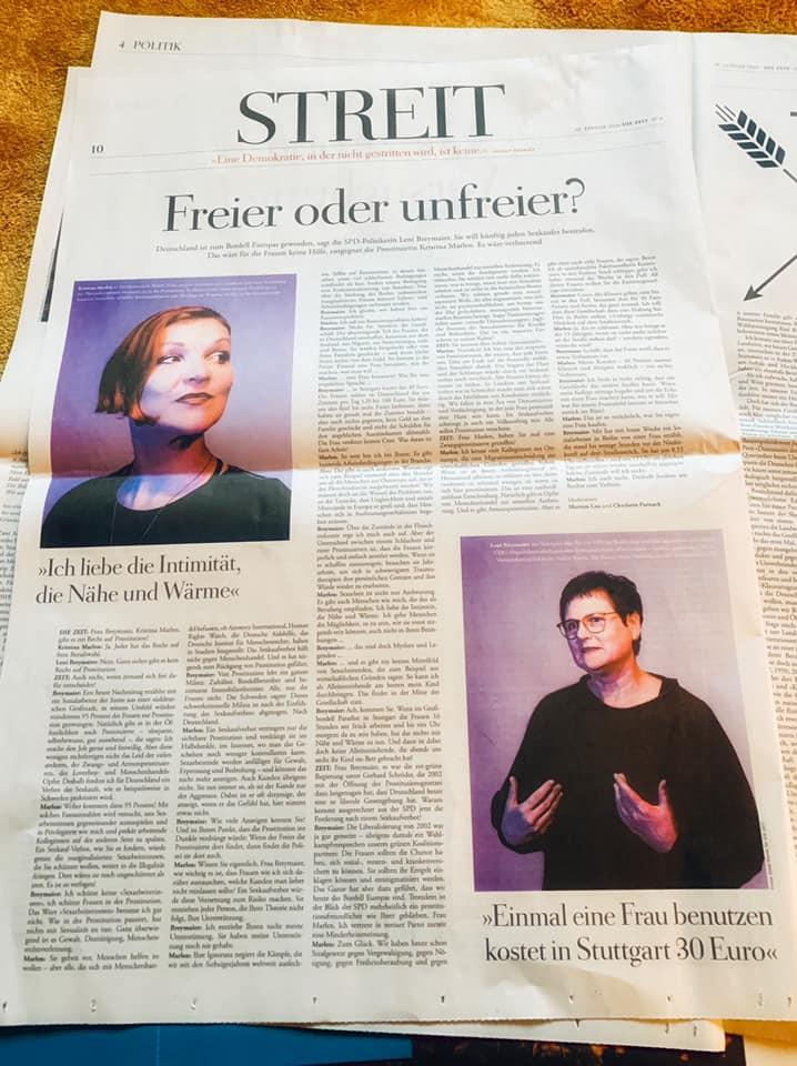 Zeitungsauschnitt Streitgespräch in DIE ZEIT
